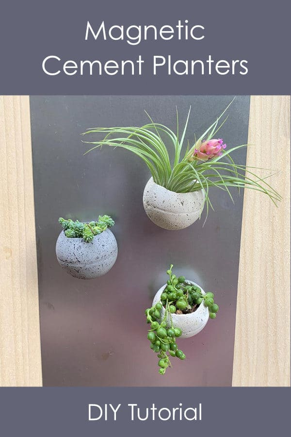 magnetic cement planter DIY