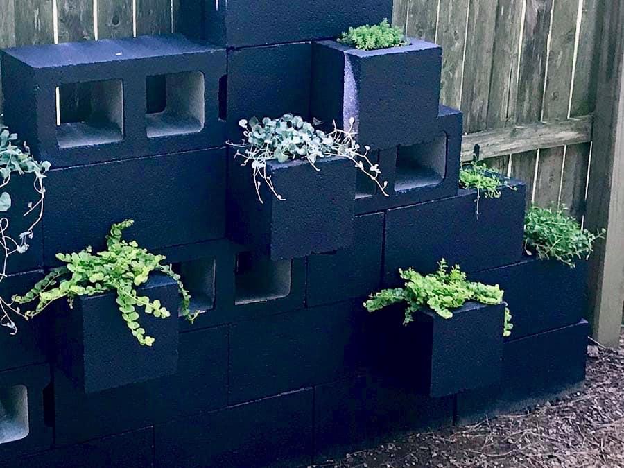 cinder block planter wall