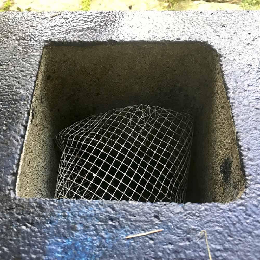 mesh inside a cinder block