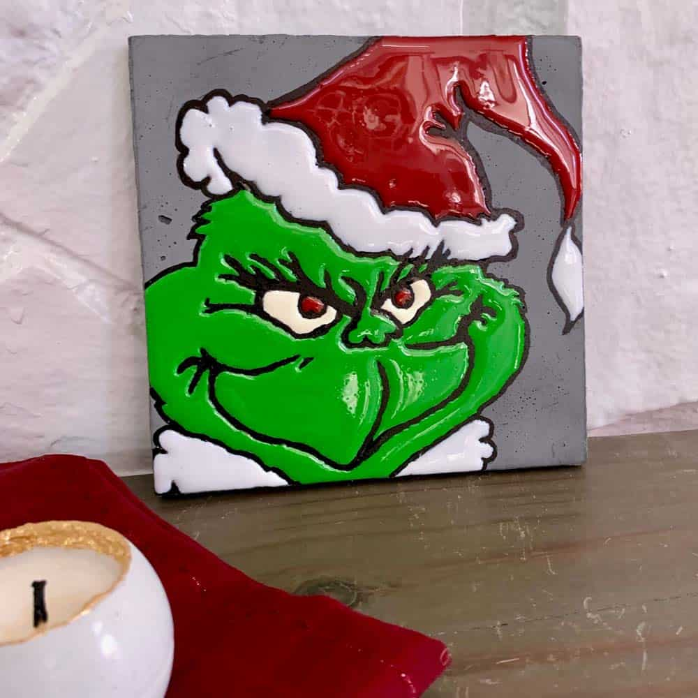 Grinch Tile On Mantle