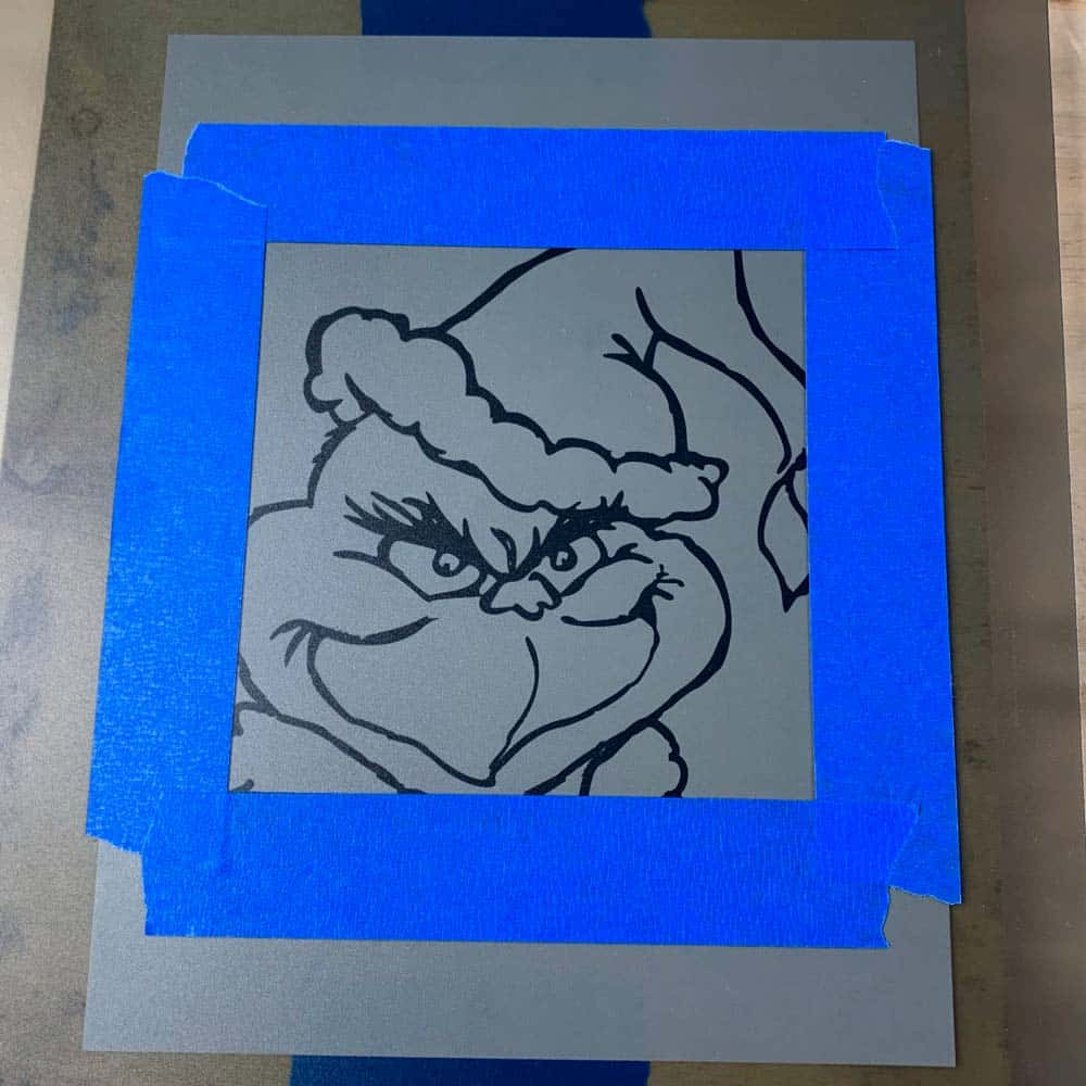 grinch printable with blue tape frame