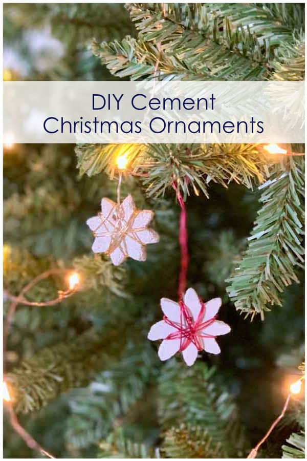 DIY cement ornament on Christmas tree