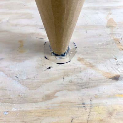 glued cardboard cone to acetate diy cement cone vase