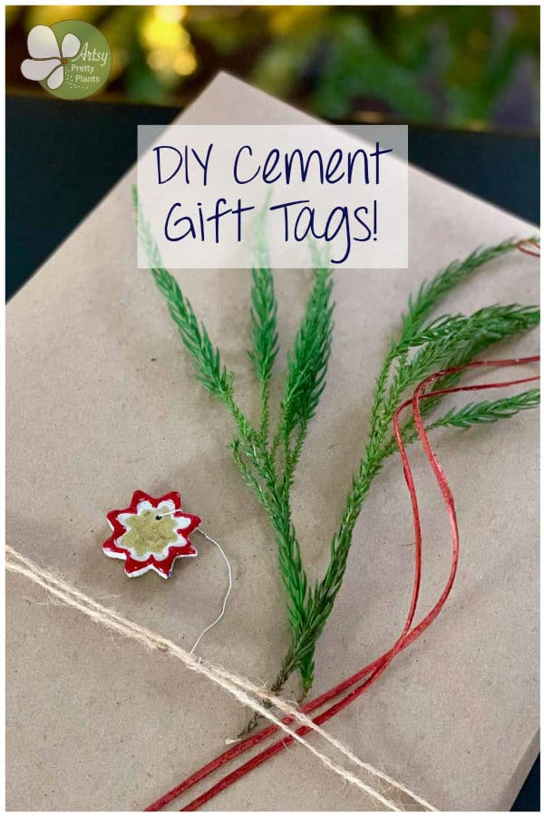 diy cement git tags on wrapped gift