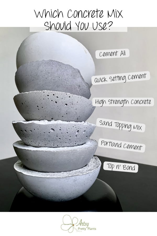 6 cement mixes compared in stacked bowls