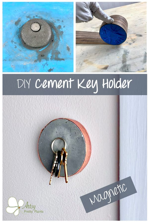 keys held by a magnet to a cement circle