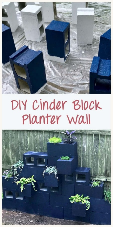 tutorial step for making a cinder block planter- painting the blocks