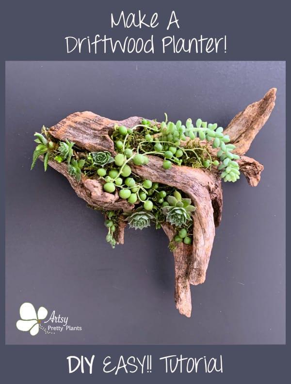 DIY Driftwood Planter tutorial steps