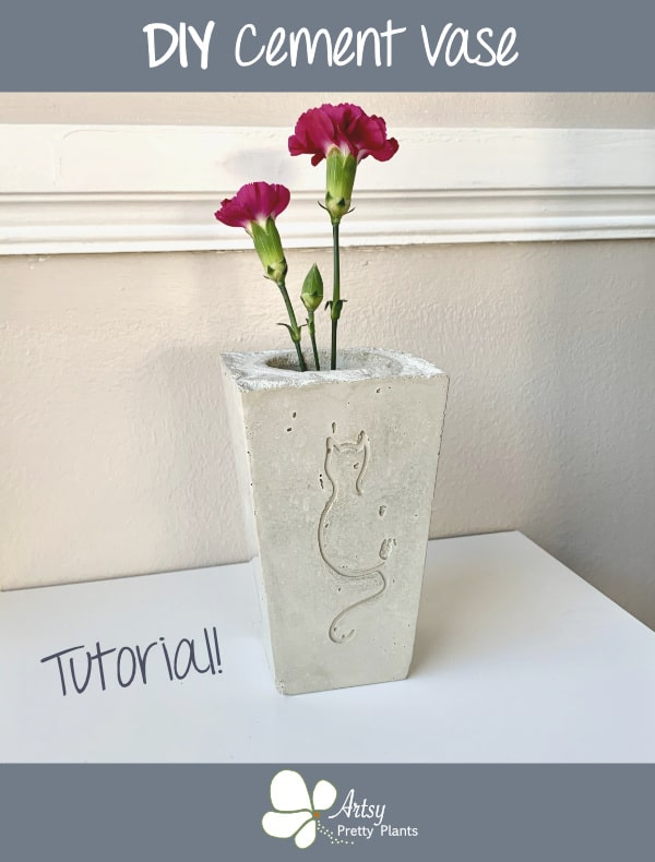 cement vase with flowers