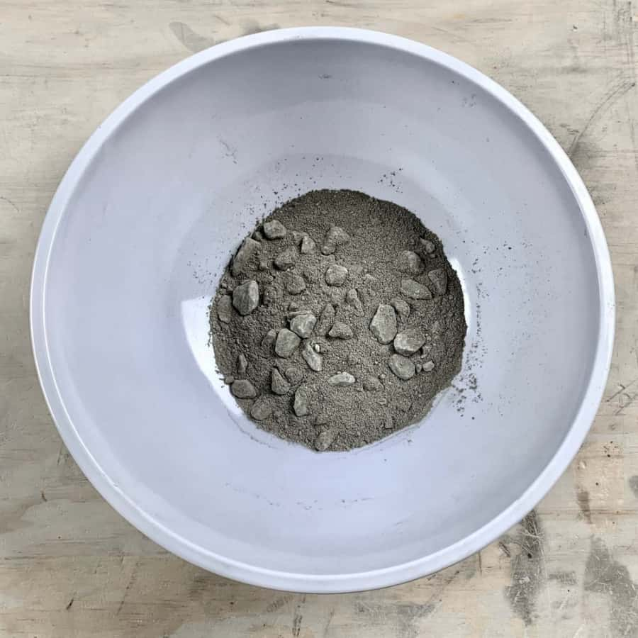 concrete in bowl with gravel