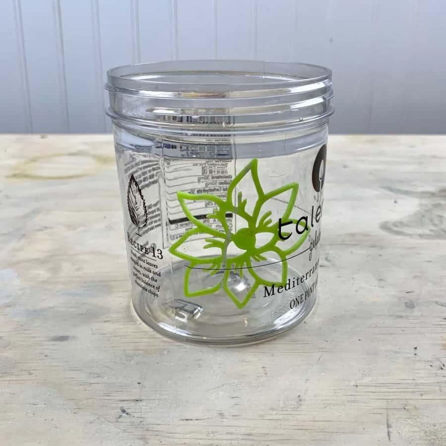 container with glued planter design