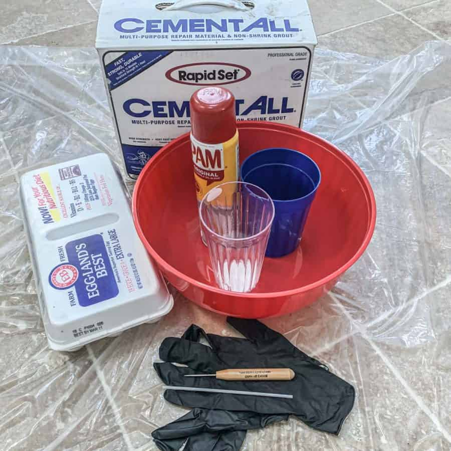materials for making a cement Easter egg planter