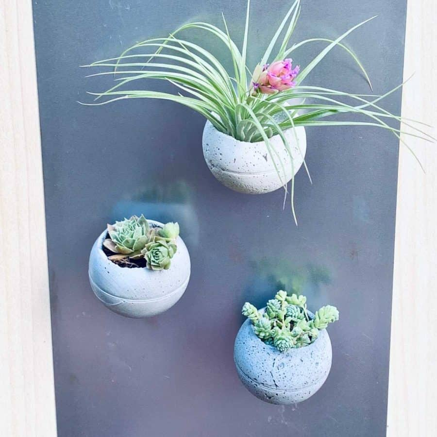 DIY Round Concrete Planters on magnet board