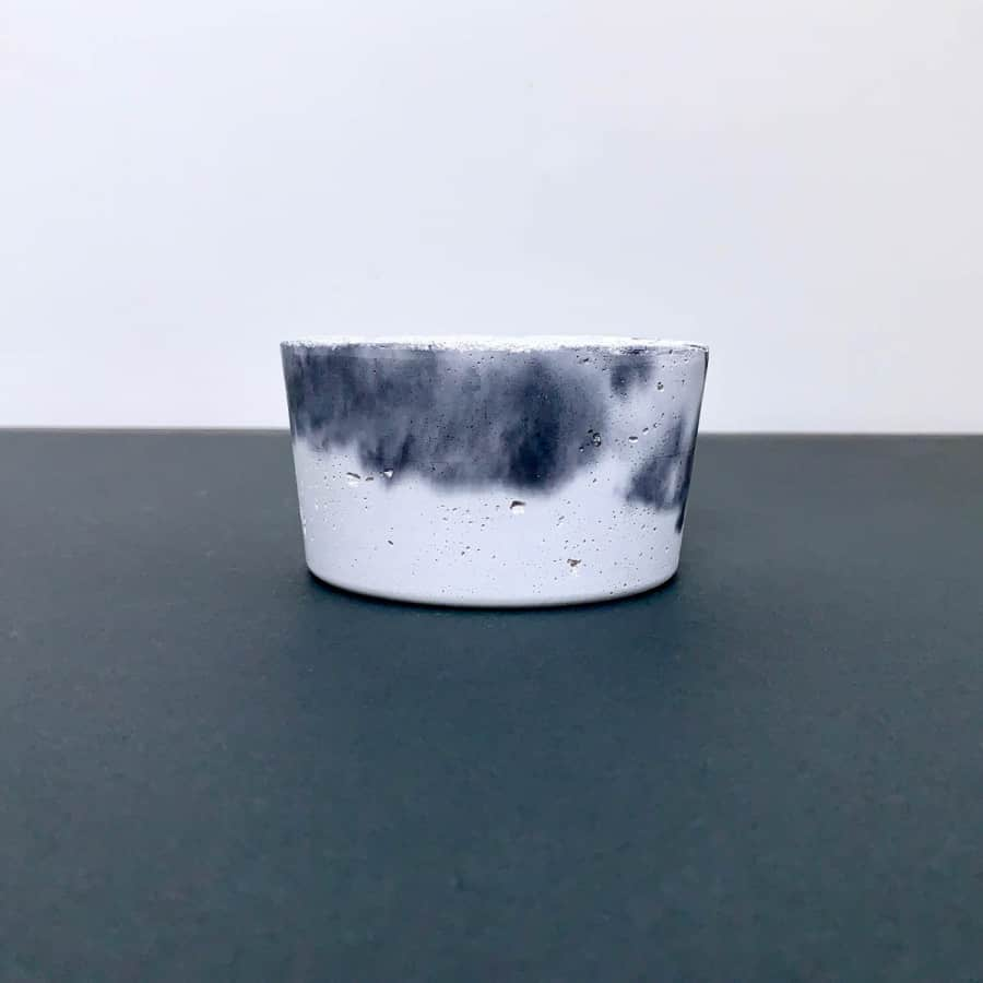 marbled black & white planter - liquid concrete crafts colorant