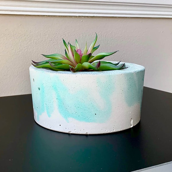 Green Marbled DIY Concrete Planter