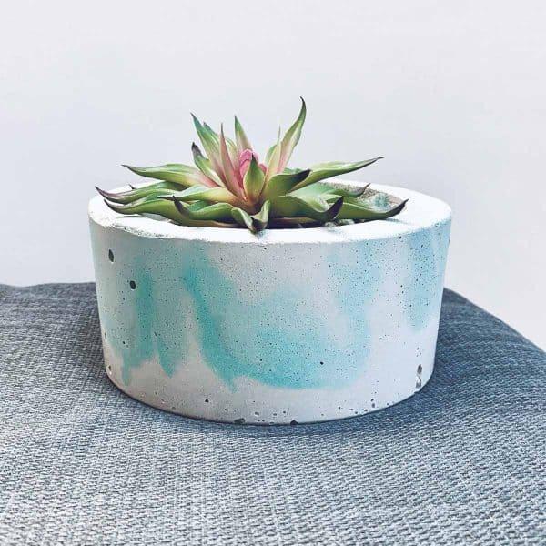 Green Marbled DIY Concrete Planter
