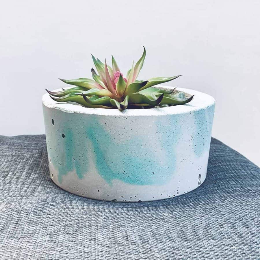 Green Marbled Concrete Planter