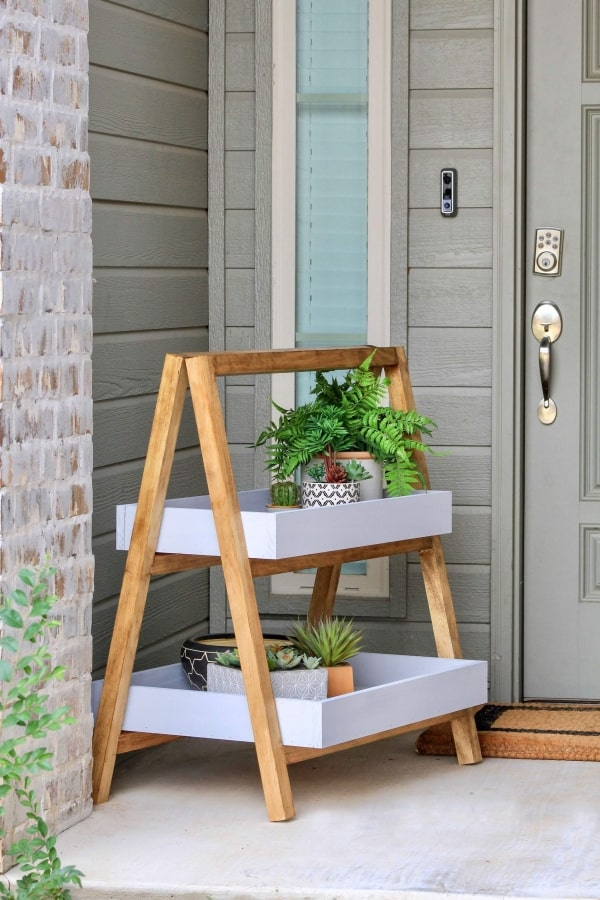 A Frame wood Plant Stand on porch
