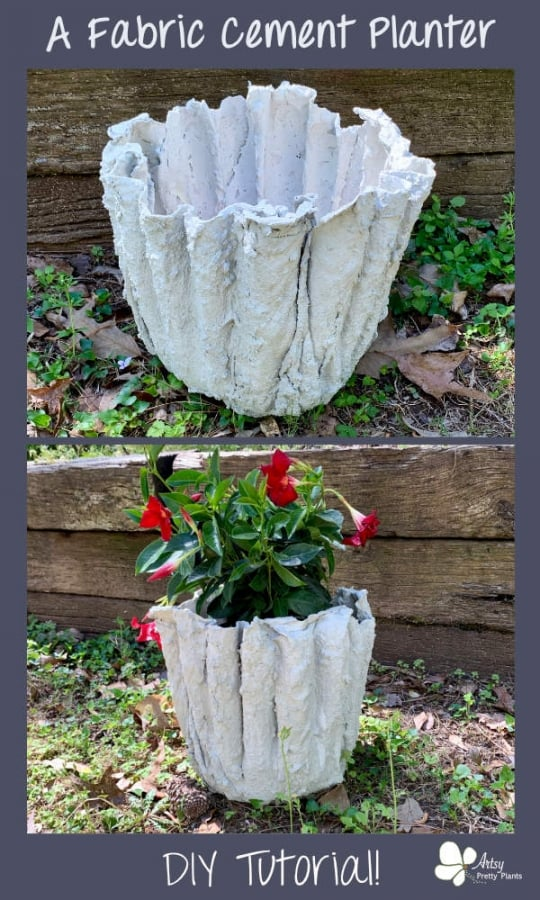 DIY Planter With Fabric & Cement