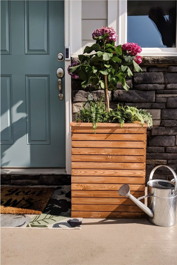 wood planter box on porch