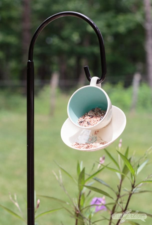 easy bird feeder from teacup