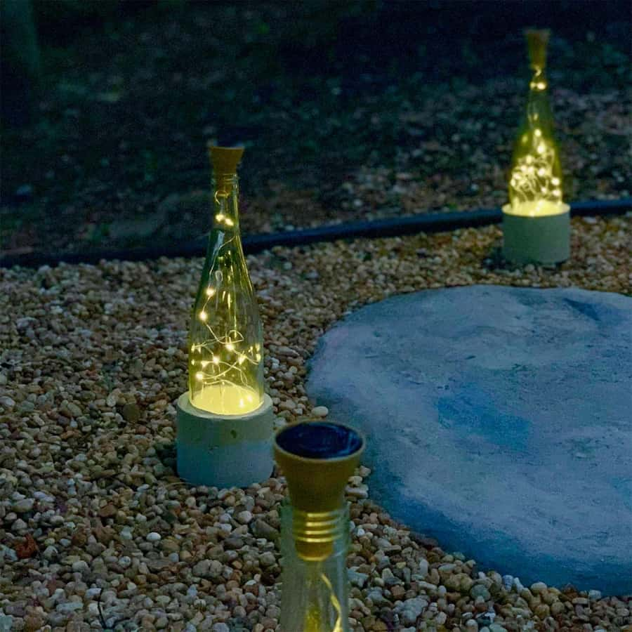 solar fairy lights wine bottle with cement base