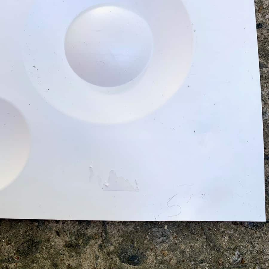 label removed from tile mold