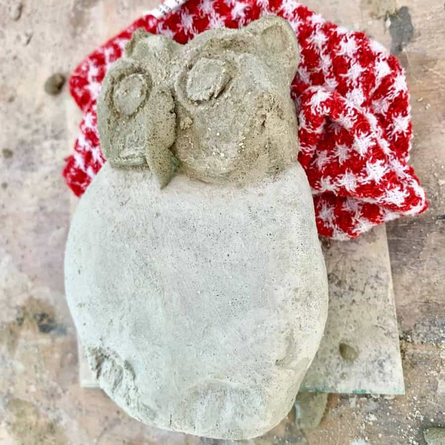 concrete garden owl statue carved, beak mortared to head