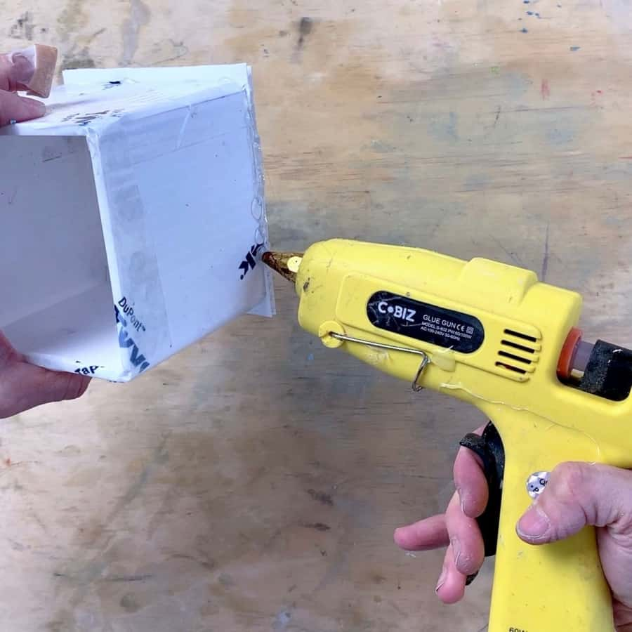 gluing outside edges of mold