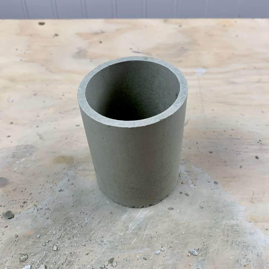 concrete planter vessel after being demolded