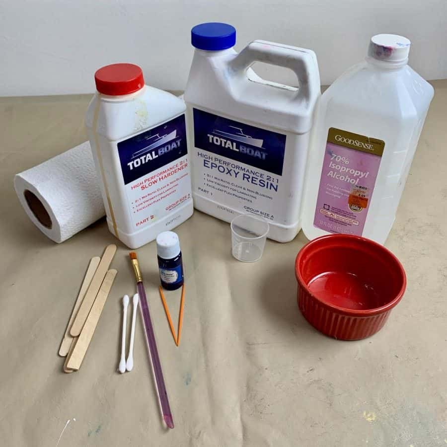 resin painting materials for the concrete planter