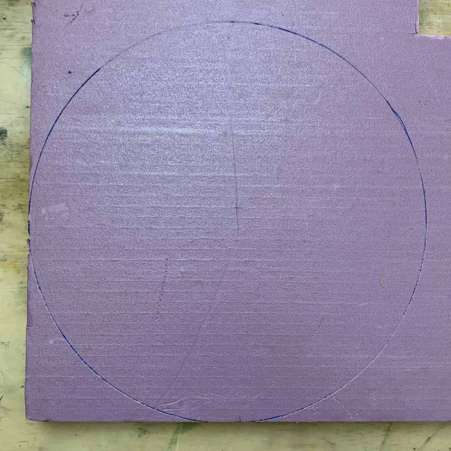circle traced on foam
