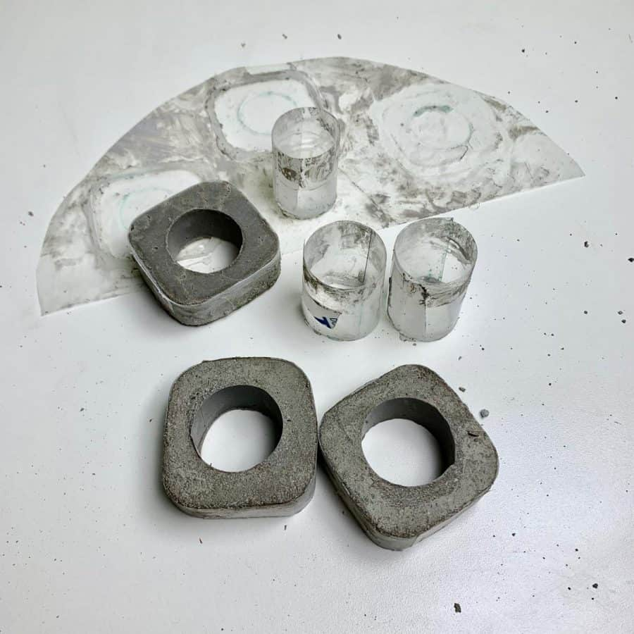 diy concrete napkin ring molds removed from base and inner mold removed