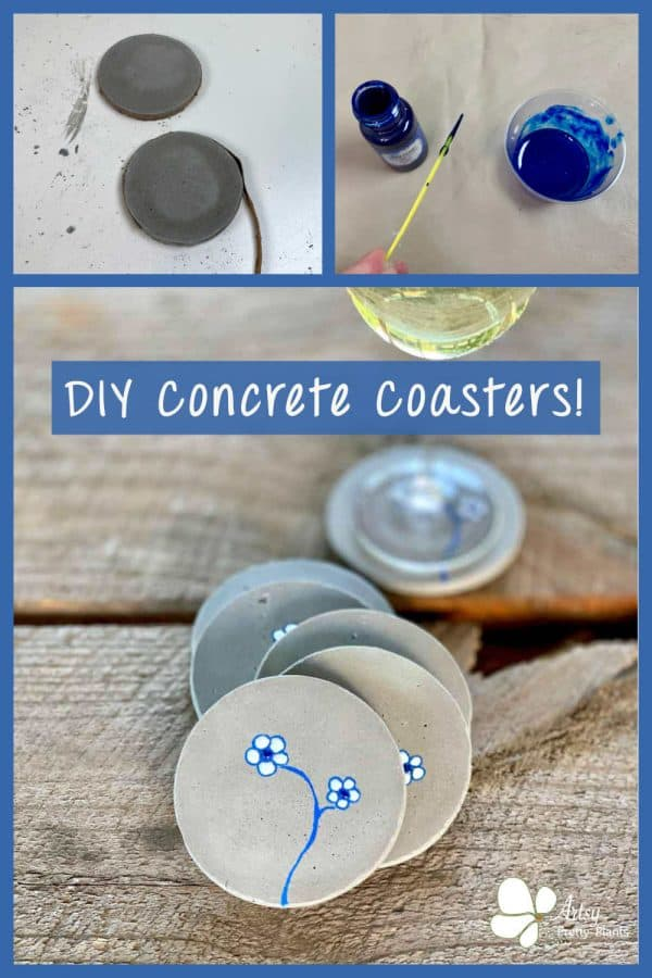 cute DIY concrete coasters with flowers on them
