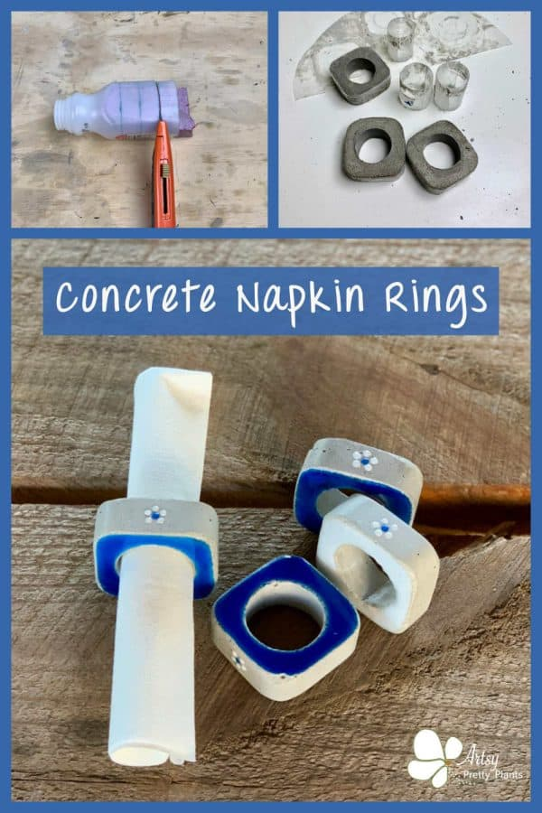 DIY concrete napkin rings with flowers