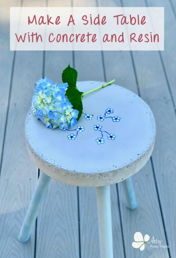 DIY Concrete Side Table With Flowers