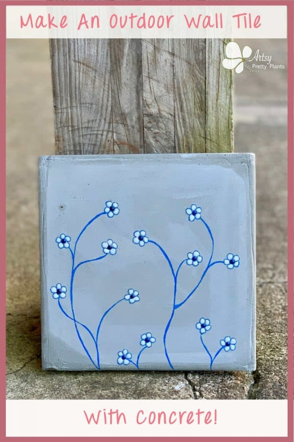 DIY Outdoor Concrete Wall Tile with Flowers