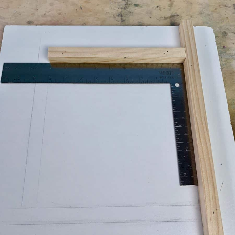 framing square with 2 pieces of wood