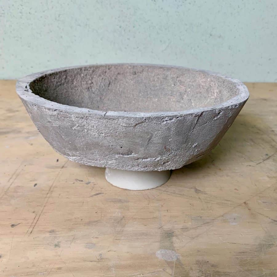 cement bowl that is sculpted