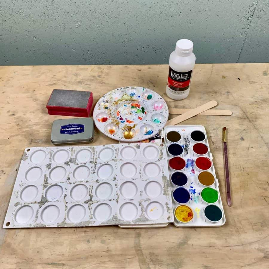 materials for making cement magnets with watercolor sunsets