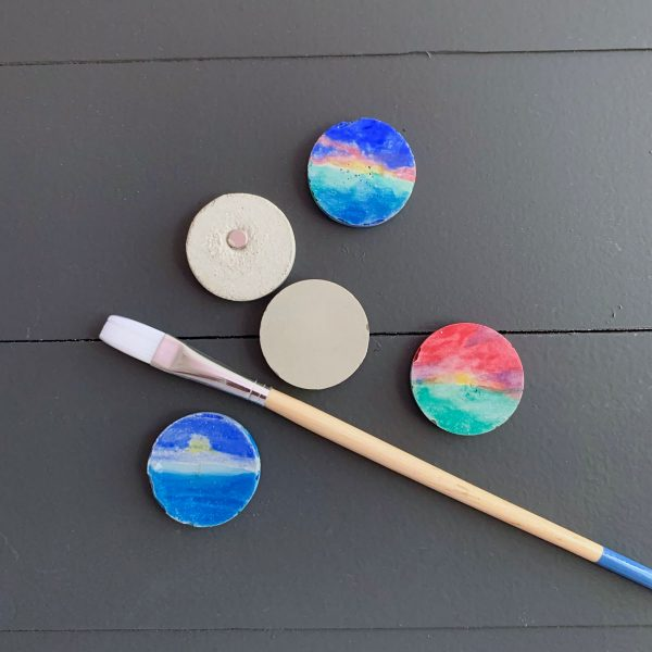 DIY Cement Magnets With Watercolor Sunsets