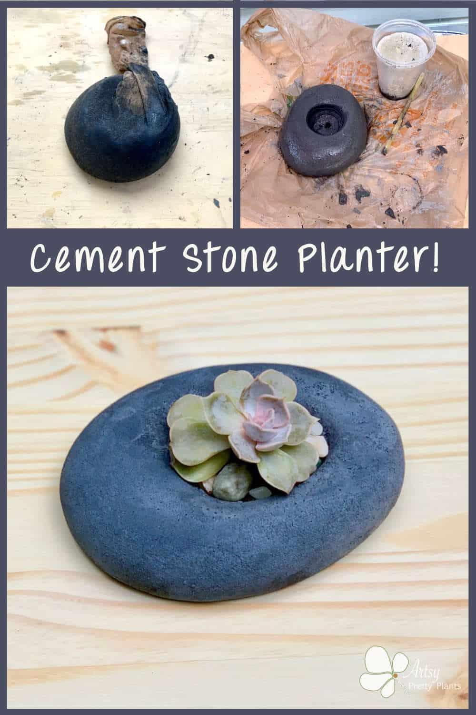 Stone Shaped DIY Cement Planter Tutorial