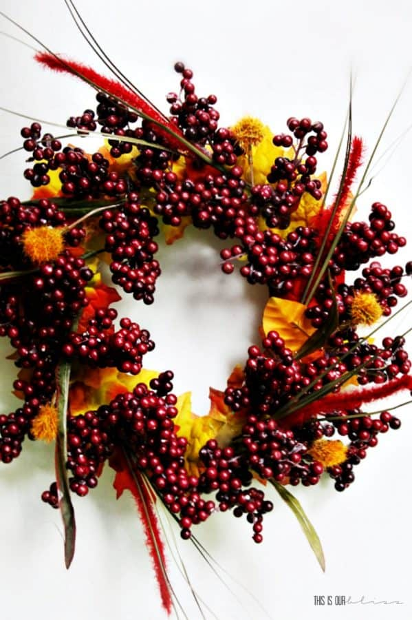 Dollar Tree Fall Decor- wreath hanging, made of berry sprigs