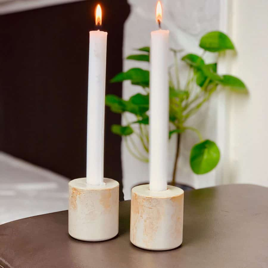 DIY Fall Concrete Candlestick Holders