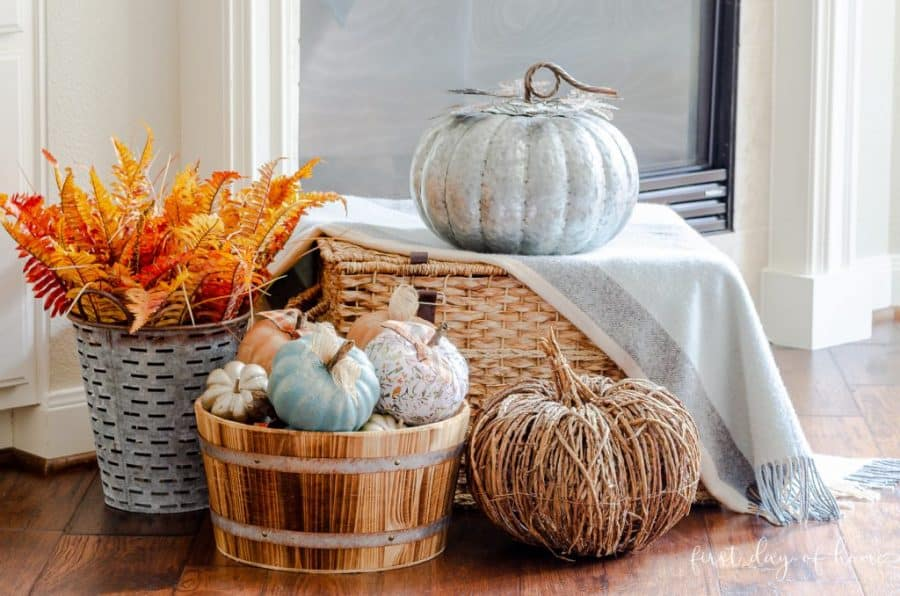 A variety of dollar tree crafts for fall. Mostly pumpkins with paint technique in baskets.