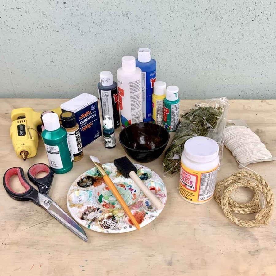materials for a diy concrete pumpkin