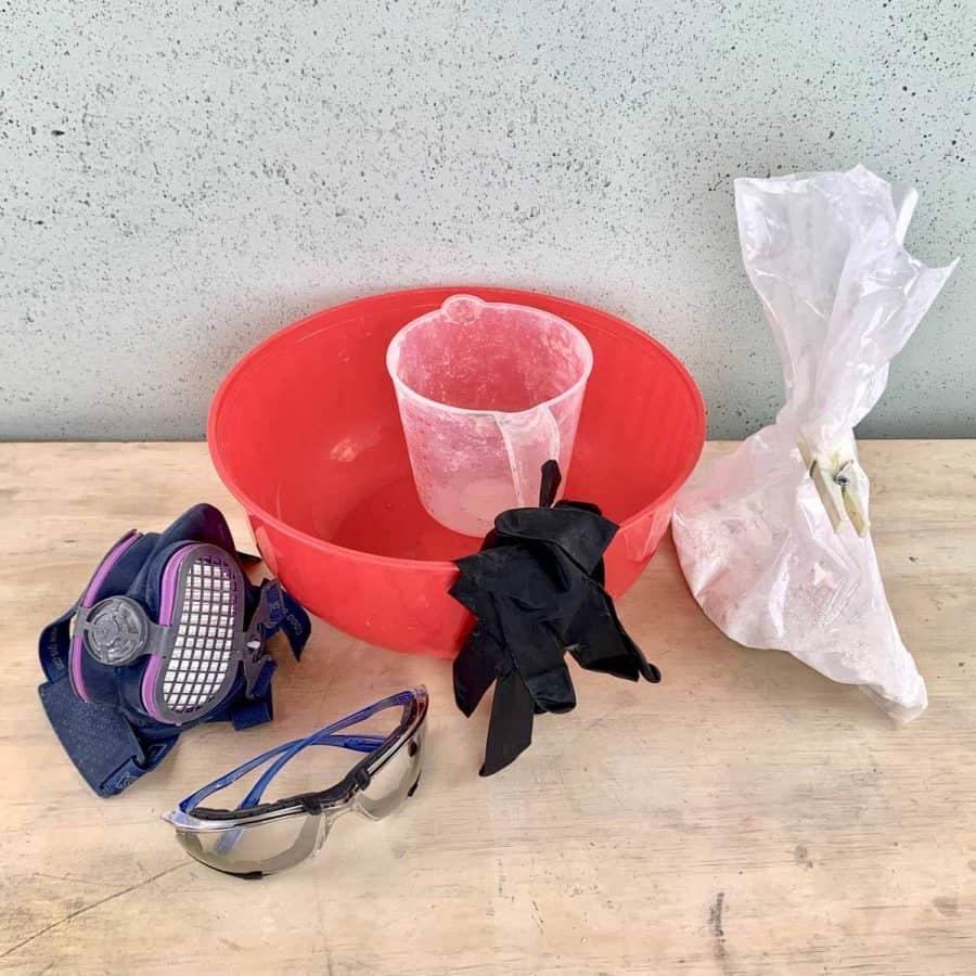 materials for making a DIY concrete pumpkin