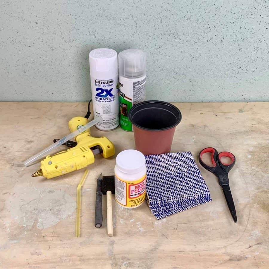 materials for transforming plastic pot into cement planter
