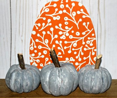 3 grey pumpkins in a row from original bought a dollar tree craft, turned into decor
