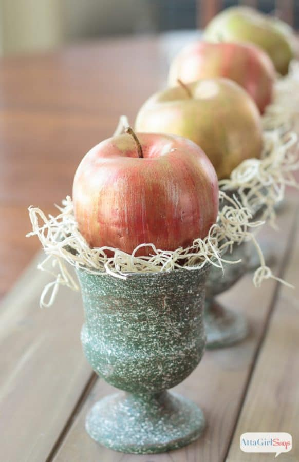 metallic-apples-in a verdigris cup
